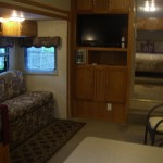 Getaway RV view of living area and bedroom